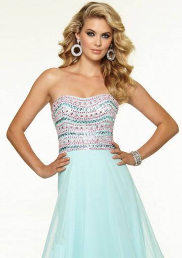 Wedding - Zipper Strapless Light Blue Fuchsia Sleeveless Crystals Chiffon Floor Length
