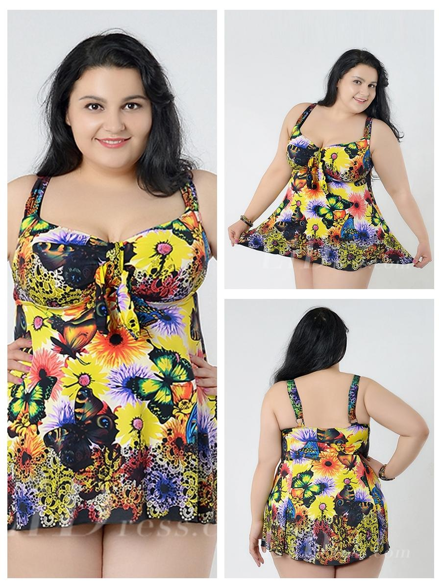 Mariage - Yellow Flower Conservative Colorful Printed High Elasticity Plus Size Swimsuit With Little Skirt Lidyy1605241069