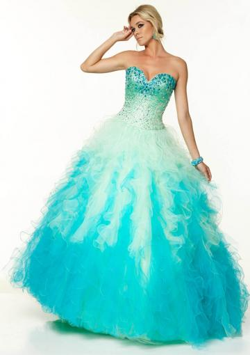 Свадьба - Sweetheart Lace Up Blue Pink Sleeveless Beading Tulle Floor Length Ball Gown