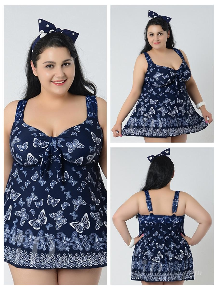 Wedding - Dark Blue With Butterfly Conservative Colorful Printed High Elasticity Plus Size Swimsuit With Little Skirt Lidyy1605241061