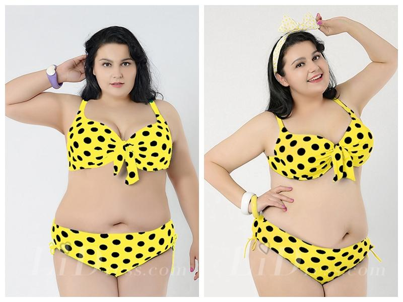 Hochzeit - Yellow With Black Dot Printing Plus Size Sexy Womens Bikini Lidyy1605241050