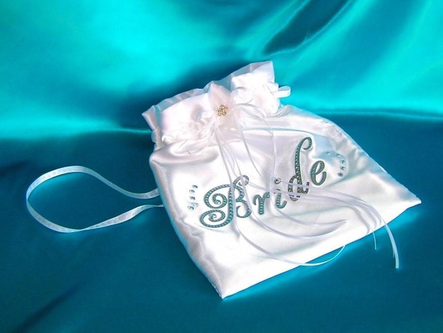 Свадьба - Bridal Drawstring Bag, Satin Money Dance Bag, Card Bag, Bridal Pouch