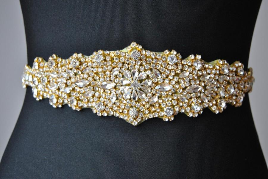 Gold crystal luxury bridal sash wedding dress sash belt for Sparkly belt for wedding dress
