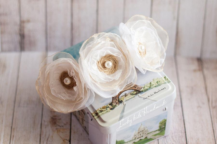Свадьба - Wedding tiara, Bridal Hair Flowers, Bridal Accessory, Wedding Hair Flower, Rustic wedding, Ivory, Cream, Champagne,Flower Girl Headband