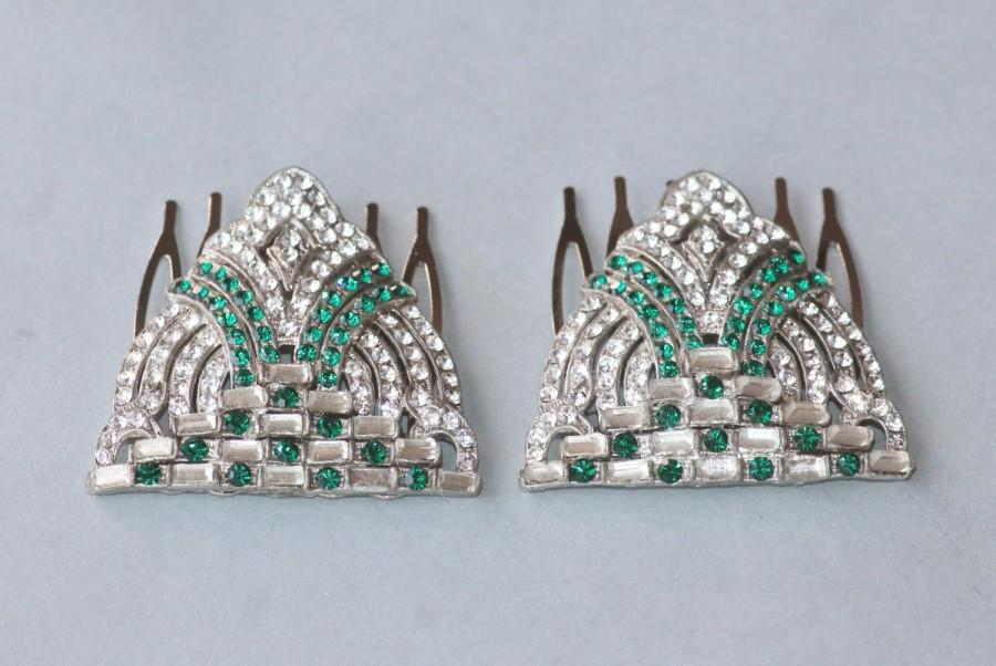Mariage - GENUINE 1920s Emerald Green Paste Rhinestone Hair Comb,Single or PAIR,Paved Rhinestone,Upcycled Reclaimed Vintage Jewels,Green Bridal Combs
