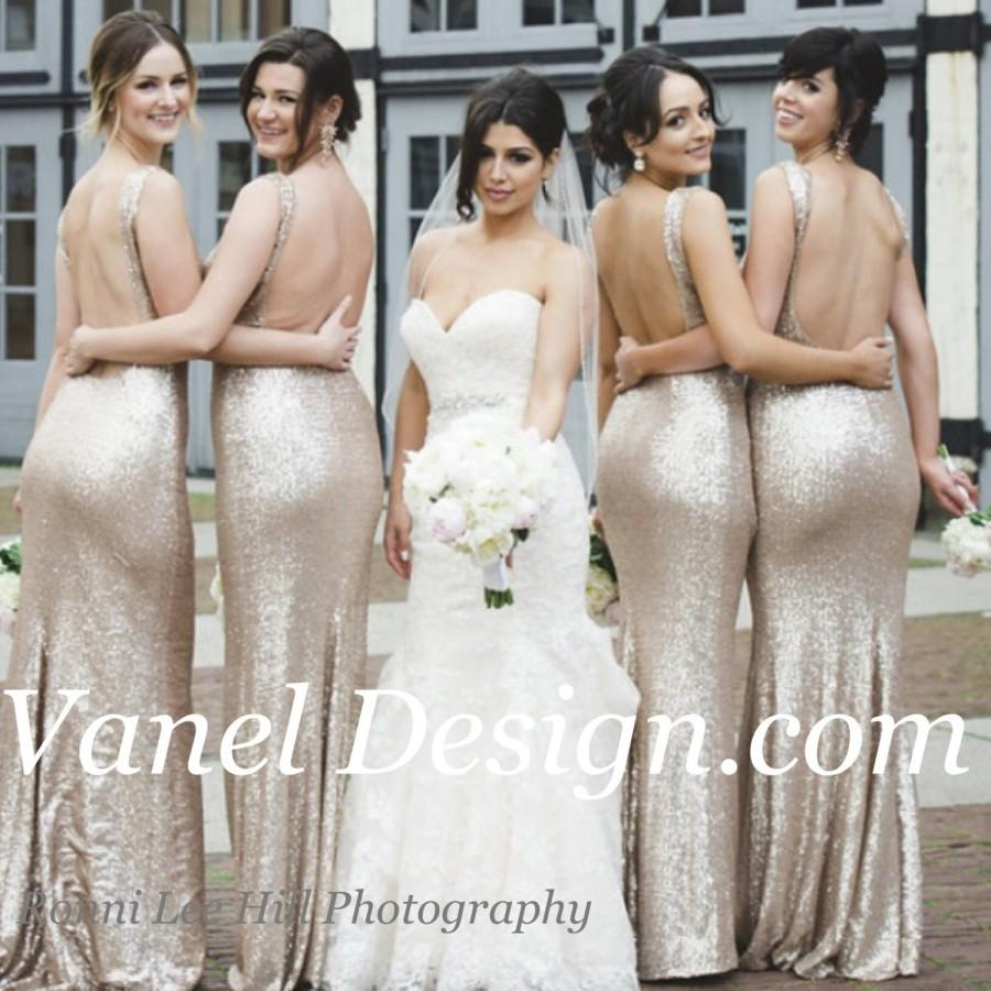 Mariage - Bridesmaid dress Long CHAMPAGNE Sequin bridesmaid dress, cocktail dress, formal elegant dress, prom dress, open peekaboo back, sexy dress