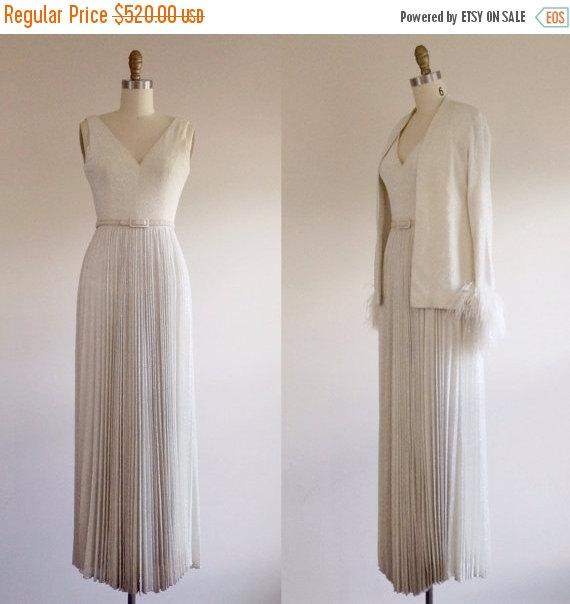 Wedding - 25% OFF SALE Simple wedding dress- White wedding dress- Glamorous wedding- Designer bridal- Evening gown- A line wedding dress- 70s wedding