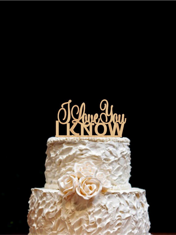 Hochzeit - Star Wars Inspired Wedding Cake Topper - I Love you I Know - Han Solo - Princess Leia - Han & Leia-Wood Cake Topper