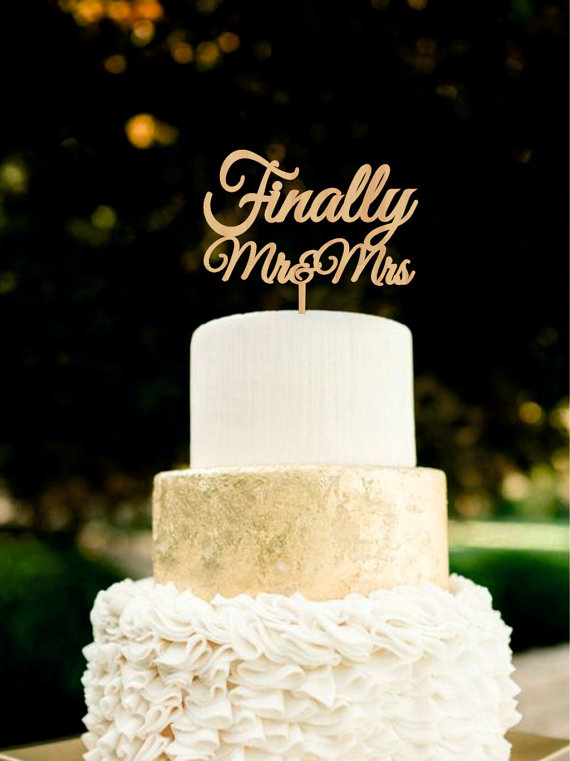Finally Mr Mrs Wedding Cake Topper Wood Golden Silver