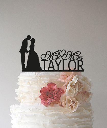 Mariage - Personalized Custom Mr & Mrs Wedding Cake Topper with YOUR Last Name