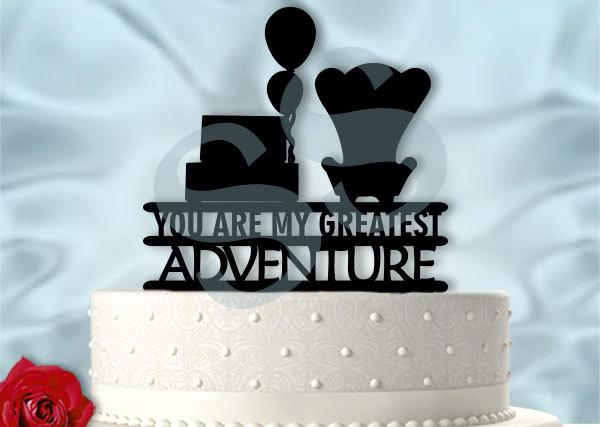 Mariage - Up inspired Greatest Adventure with balloons Wedding or Anniversary Cake Topper