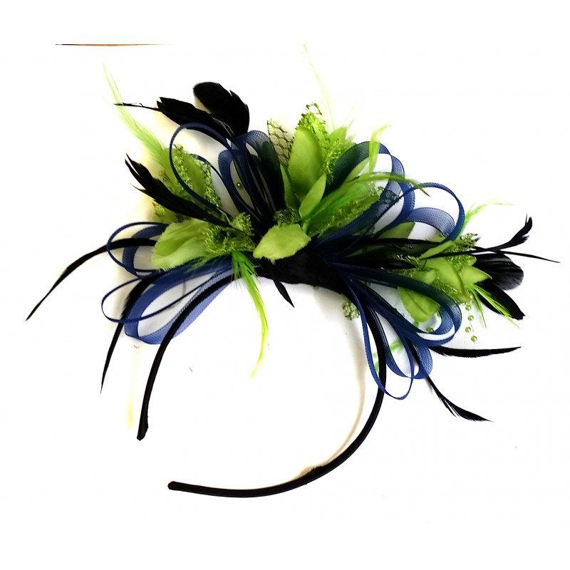 Navy Blue   Lime Green Feathers Fascinator On Headband  2516046 ... 33cab06513a