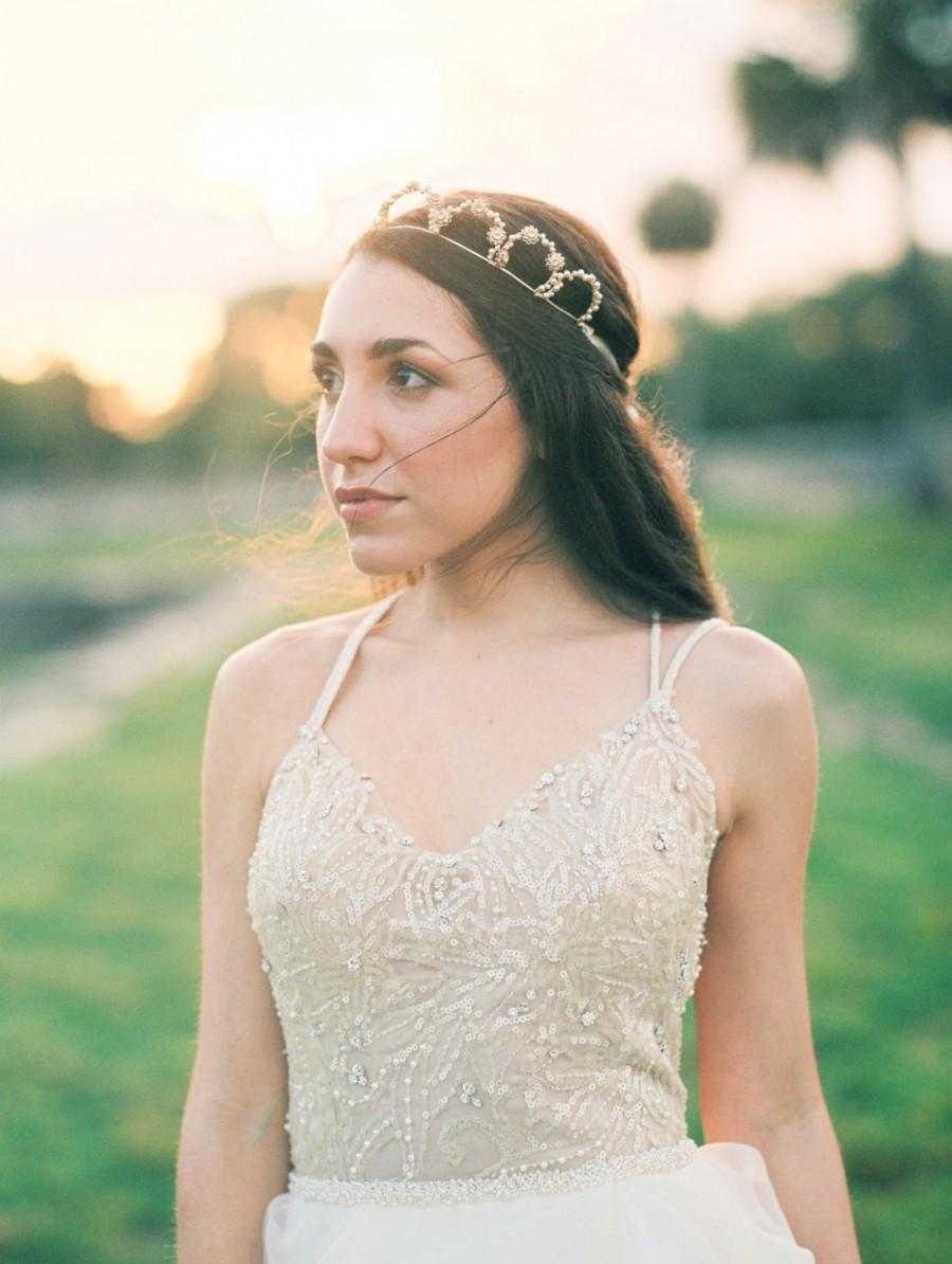 زفاف - Bridal Tiara- Couture wedding tiara handmade with gold plated wire,  Swarovski filigree flowers and Swarovski pearls