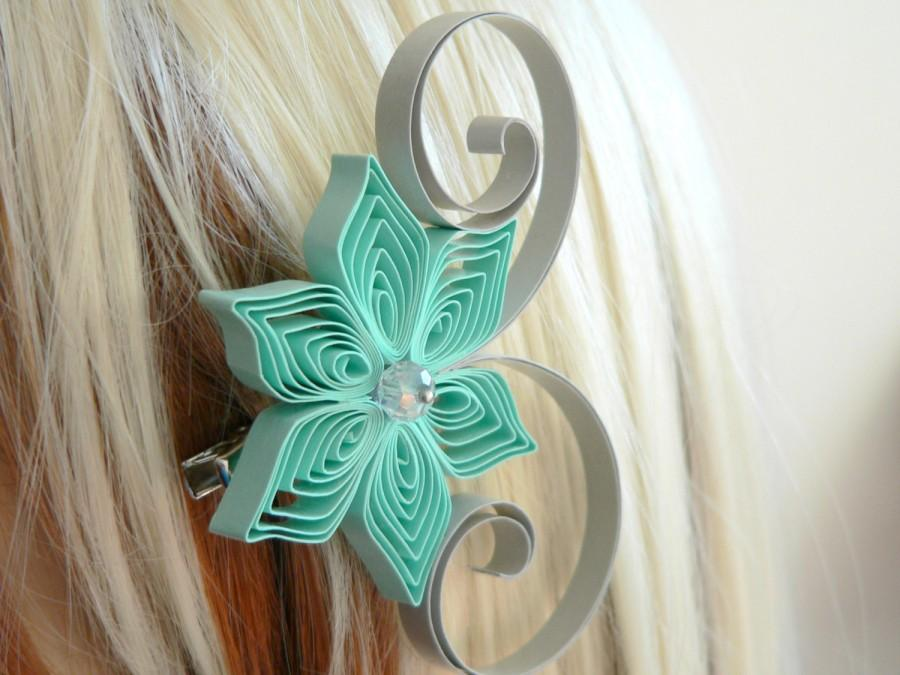 Mariage - Mint and Gray Wedding Hair Accessory, Bridesmaid Gift, Mint Wedding, Gray Wedding, Bridesmaid Hair Accessories