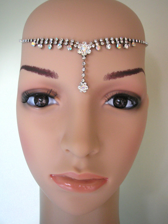 S Bridal Headband Art Deco Headpiece Great Gatsby Crystal Tikka