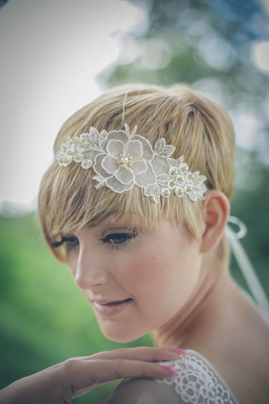 Hochzeit - Wedding headband - 'Primrose' pearl floral ivory bridal ribbon headband or forehead band