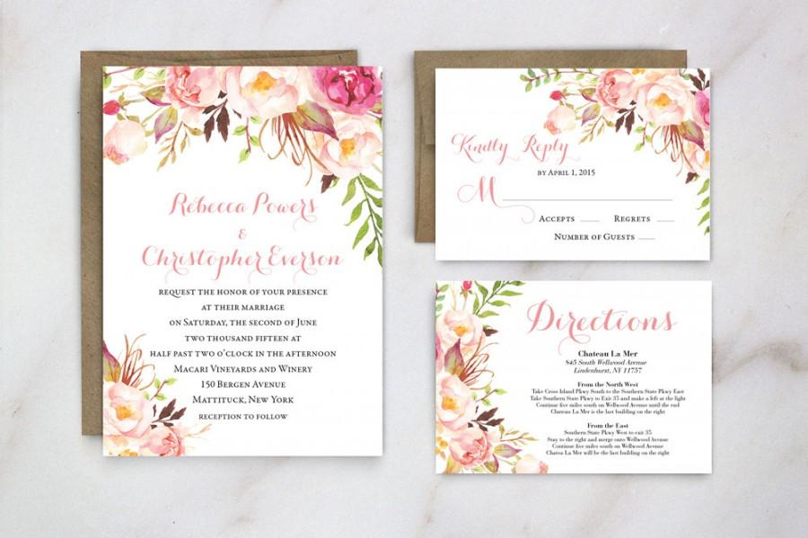 Spring Wedding Invitation, Floral Wedding Invite, Garden Wedding ...