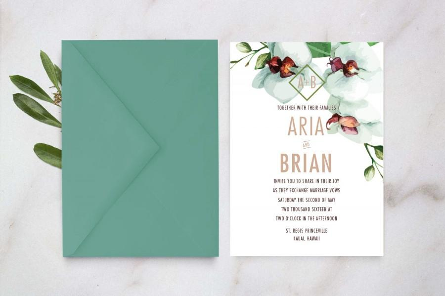 Wedding - Destination Wedding Invitation, Tropical Wedding Invitation, Botanical Wedding Invitation, Orchid Wedding Invite, Floral Invitation