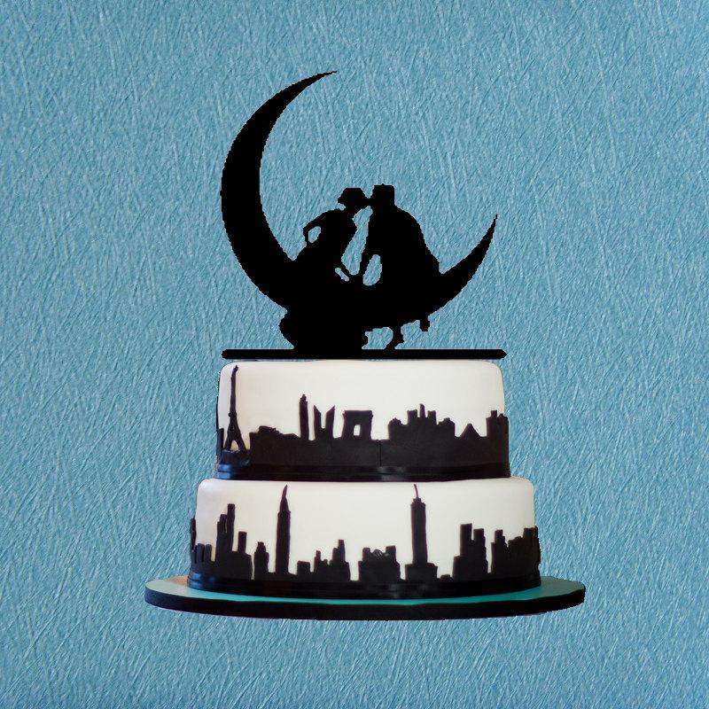 Mariage - Wedding Cake Topper-Kissing on the Moon Wedding,Romantic Cake Topper,The Acrylic Cake Topper