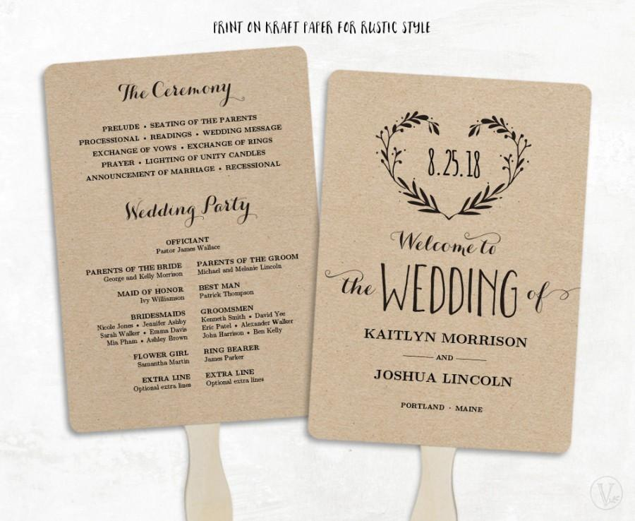 Printable wedding program template wedding fan programs for Diy wedding program fan template