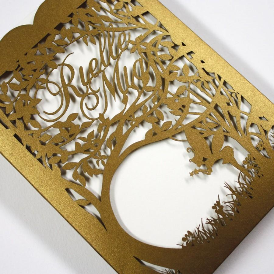 "Düğün - Personalized Laser cut pocket - ""Woodland Faeries"""