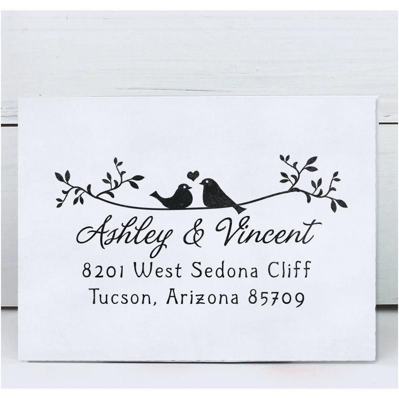 زفاف - Custom Address Stamp, Return Address Stamp, Calligraphy Address Stamp, Self inking or Eco Mount stamp Twigs Two Birds in Love
