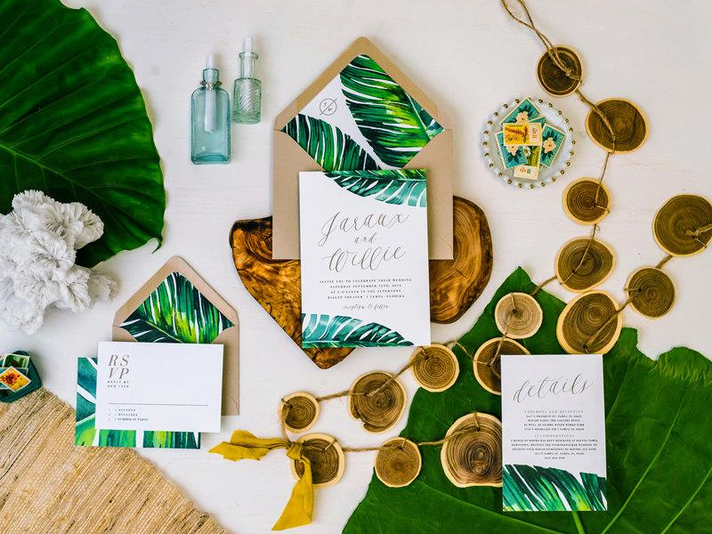 jaraux suite // tropical wedding invitation, banana leaf, tropical, Wedding invitations