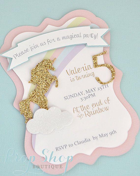 Unicorn Kisses Birthday Invitation