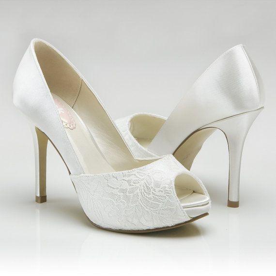 Hochzeit - Custom Colors, Wedding Shoes, Accessory Wedding Shoes, Wedding Peep Toe Shoes, Women's Lace Dress Shoes, Bridal Shoes, Bridal Accessories