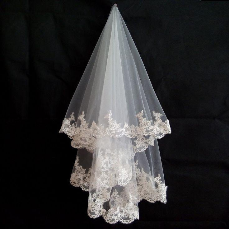 Mariage - 1.5 Meters Lace Appliques Tulle Bridal Veil