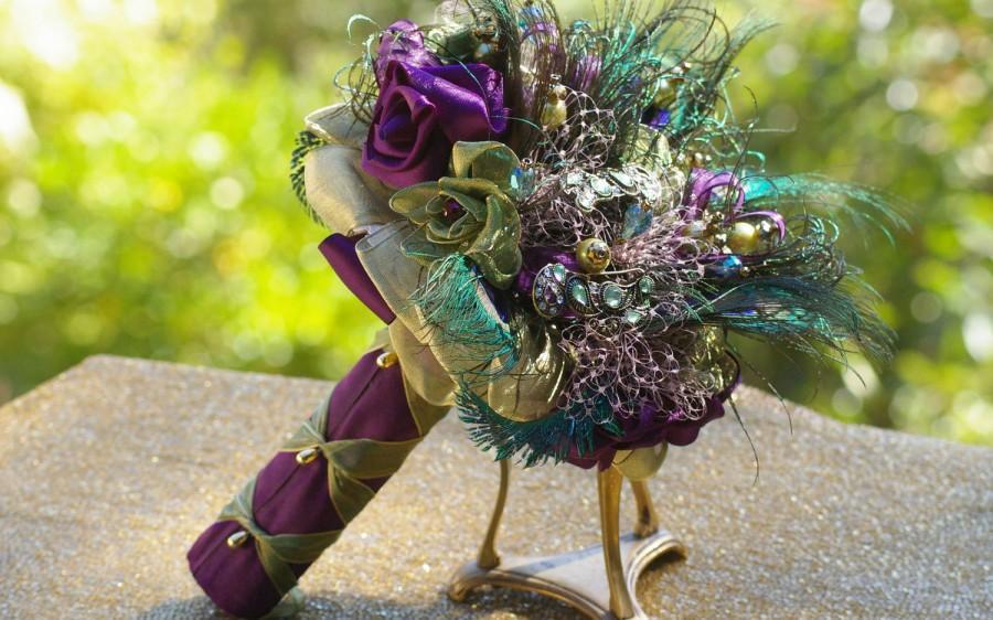 Mariage - Peacock Brooch Bridal Bouquet Feather Purple Green Mardi Gras Victorian Rennaisance