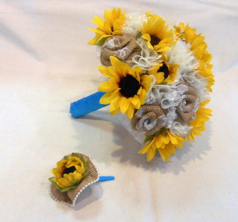 Свадьба - Wedding Bouquet, Bridal Bouquet, Fabric Bouquet, Burlap Bouquet, Sunflower Bouquet, Keepsake Bouquet, Bridesmaid Bouquet
