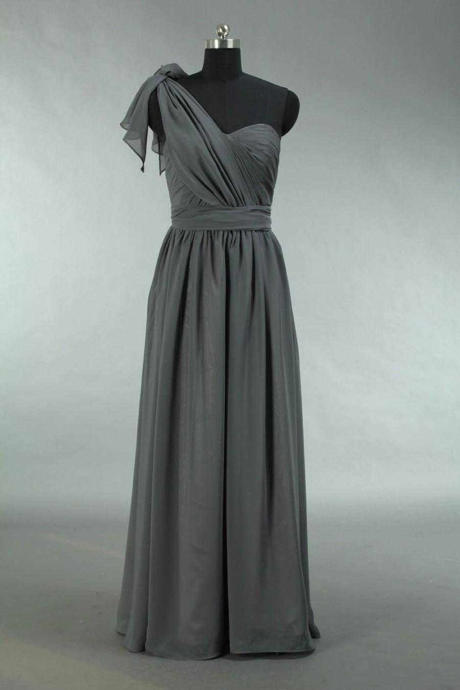 Nozze - Cheap Grey Prom Dress, Long Convertible Chiffon Prom Dress 2015