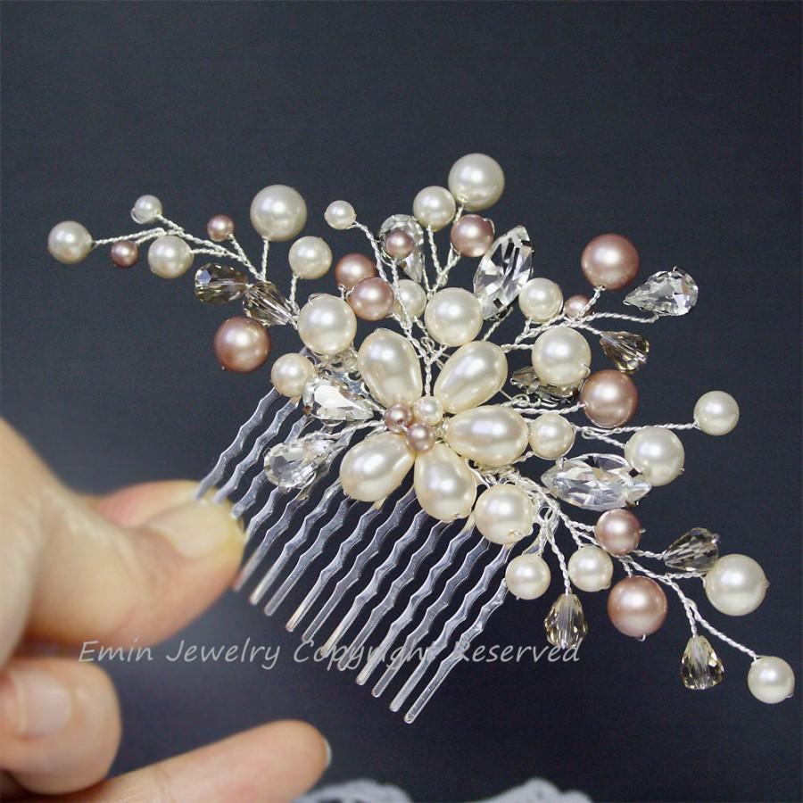 Hochzeit - Wedding Hair Accessories, Ivory Champagne Pearls Rhinestone Floral Vine Silver Bridal Hair Comb, Vintage Bridal Hair Accessories