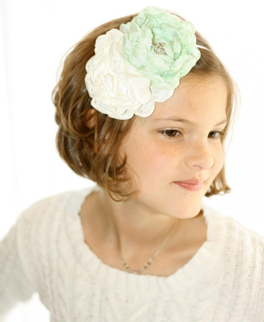 Mariage - Custom Ivory and Mint Flowergirl Headband - Ivory Headband - Mint Bridesmaid Headband - Ivory Wedding Customize your colors