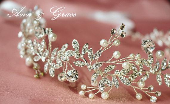 Mariage - Crystal and Pearl Bridal Headband, Leaves Hair Vine, Rhinestone  Headpiece, Wedding Accessory