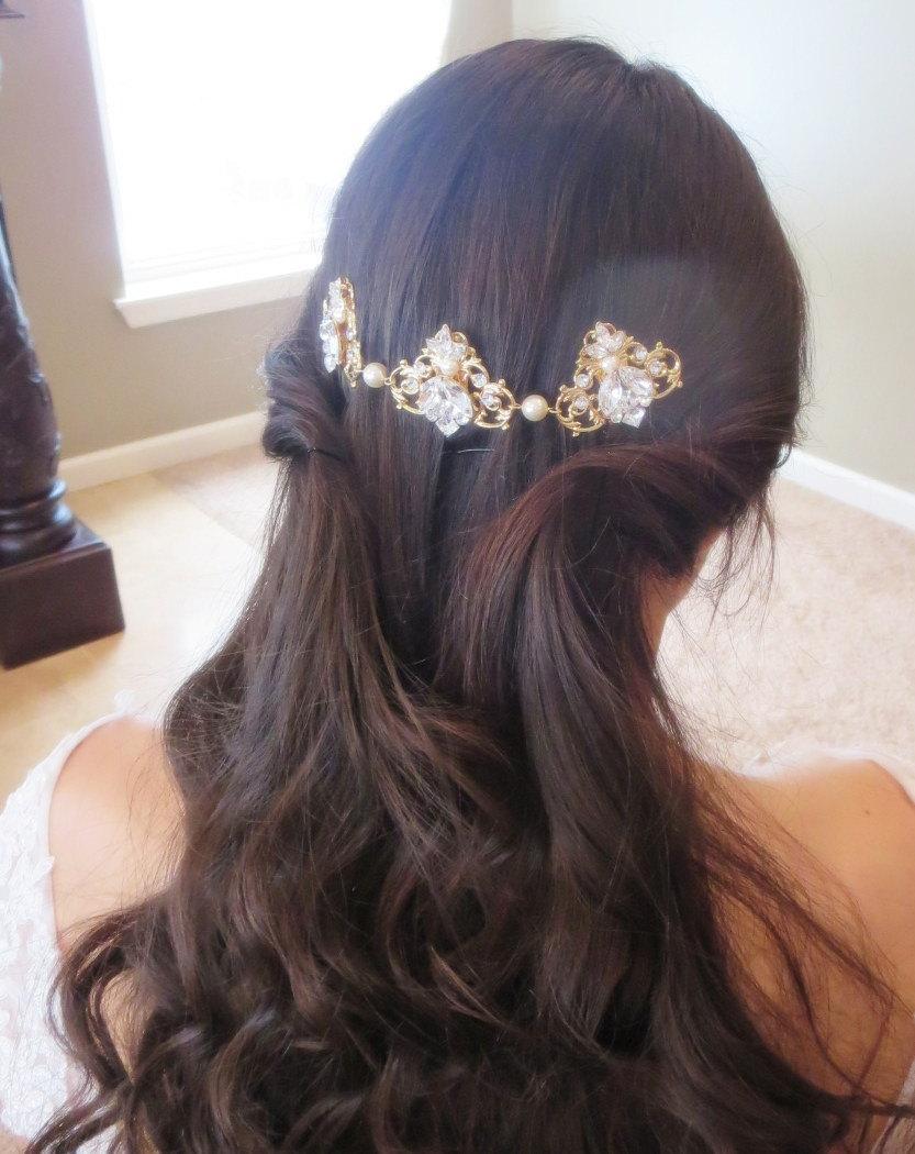 Mariage - Wedding headpiece, Gold Bridal hair comb, Bridal hair vine, Bridal headband, Wedding hair piece, Bridal Back comb, Gold headpiece, Swarovski