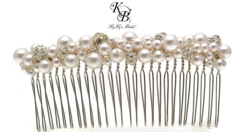 Mariage - Pearl and Rhinestone Hair Comb, Large Hair Comb, Bridal Hair Comb, Bridal Hair Accessory, Long Hair Comb, Bridal Hair Accessories, Wedding
