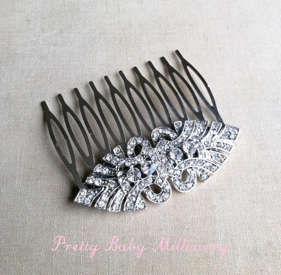 Mariage - Art Deco Comb, Silver hair comb, wedding comb,Art Deco headpiece, Bridal Hair Comb, bridal comb,hair accessories   EYE SILVER