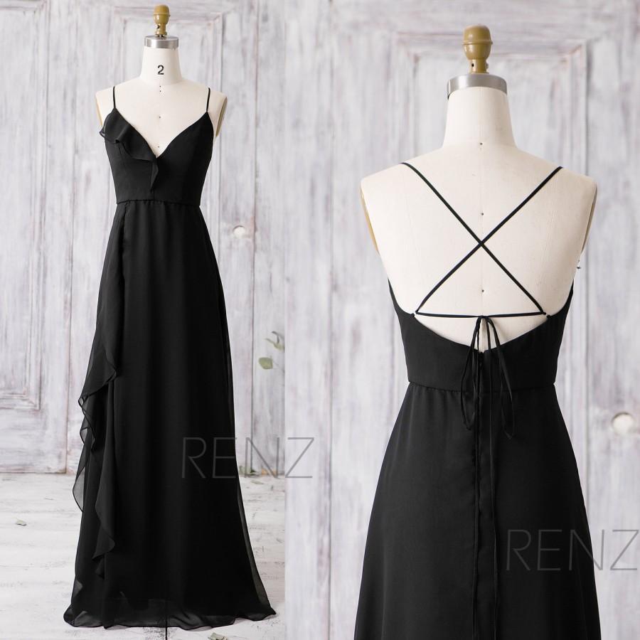Hochzeit - 2016 Long Chiffon Bridesmaid Dress, Ruffle V Neck Wedding Dress, Spaghetti Strap Prom Dress, Black Asymmetric Party Dress Floor Length(Z095)