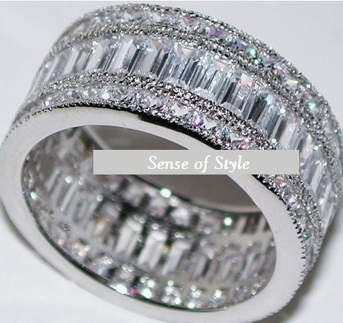 5C Engagement Ring Eternity Ring Wedding Ring CZ Eternity Band