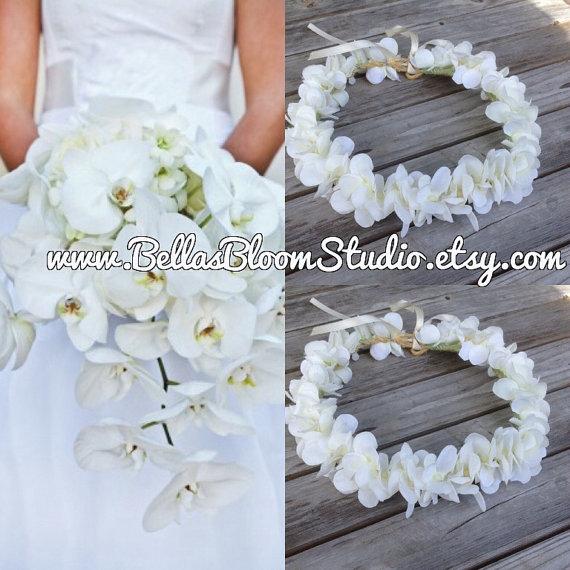 White Flower Crown, HAWAIIAN FLOWER CROWN - Tropical White Crown ...