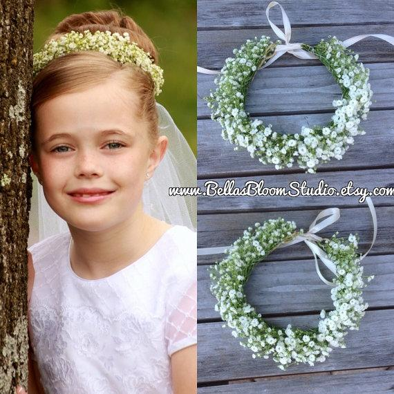 Emma Flower Girl Headpiece Bun Wrap Babys Breath Fresh Flowers Baby Breath Hair Vine Baby