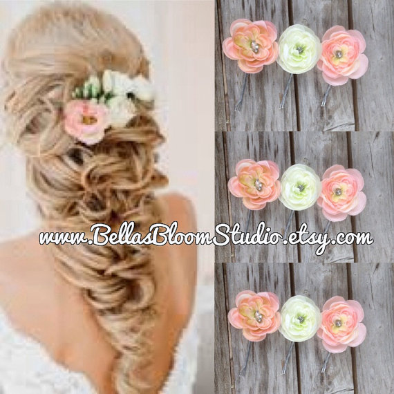 Boda - Small Bridal Hair clips Coral Peach Ivory Flower Fascinator Hair Pins, Wedding Bridesmaid Flower Headpiece Rhinestone Barrette Clips etsy