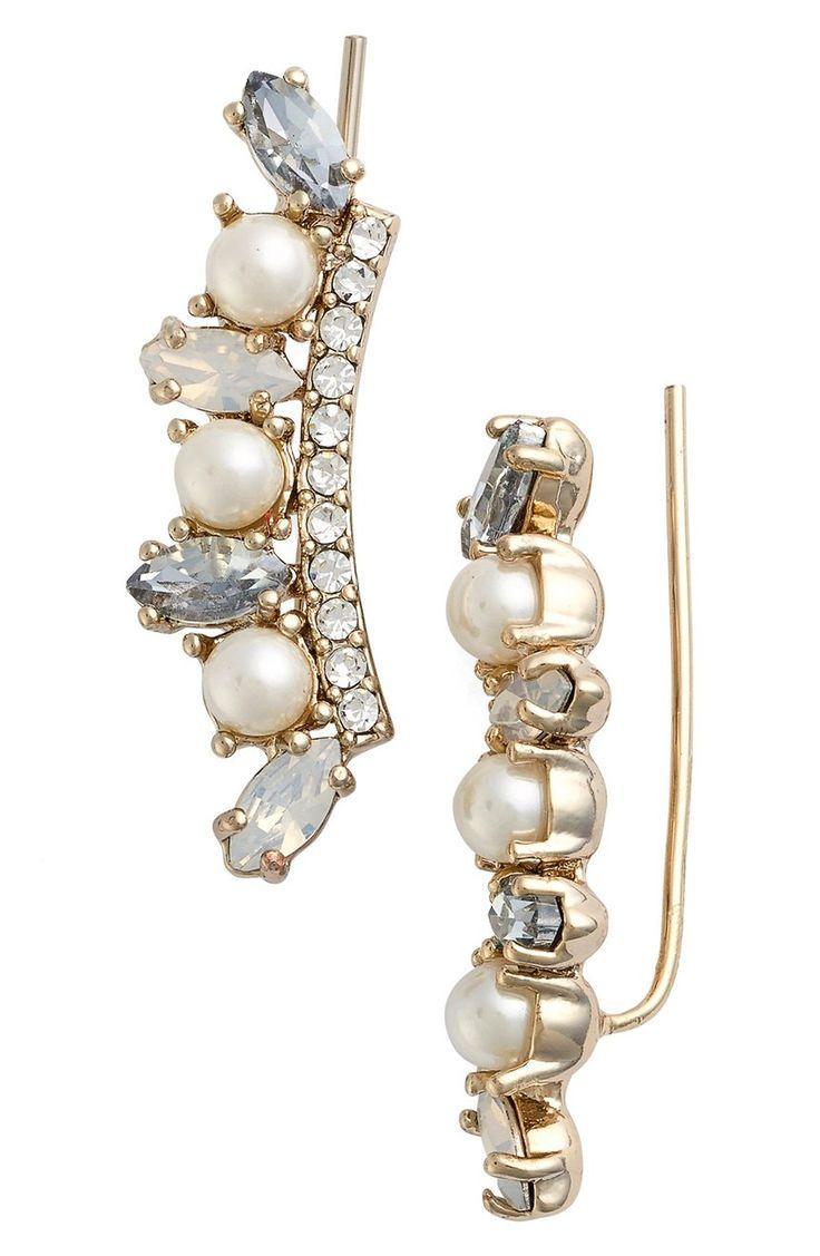 Hochzeit - Crystal & Faux Pearl Ear Crawlers