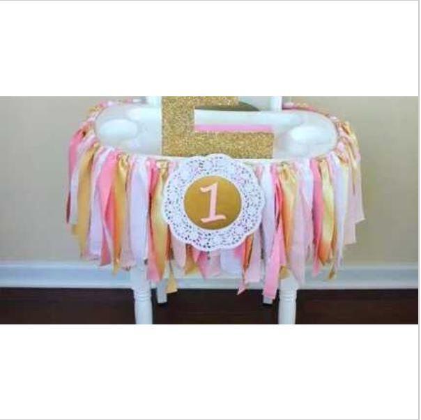 Mariage - Baby Girl High chair Bunting First Birthday Pink and Gold ~ Nursery ~ Baptism ~ Bar / Bat Mizvah ~ Birthday ~