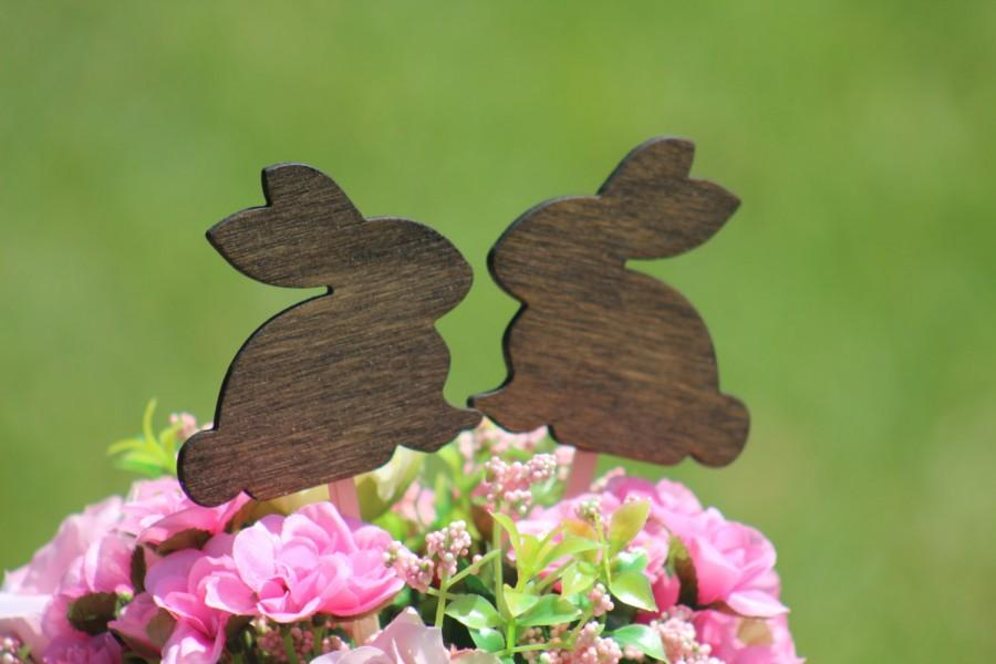 Mariage - Bunny Cake Topper - Mr & Mrs Bunny - Bride and Groom - Rustic Country Chic Wedding