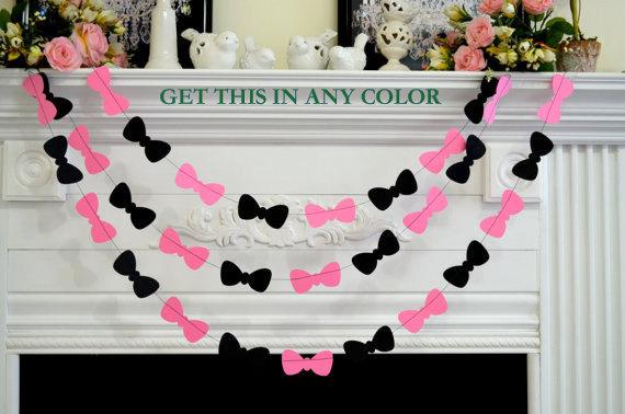 Mariage - Bow Tie Garland, Baby/bridal shower decor, Paper Garland, photo Prop Birthday Decor, Pink Black Bow Ties, Pink Bow Tie, Valentine's garland