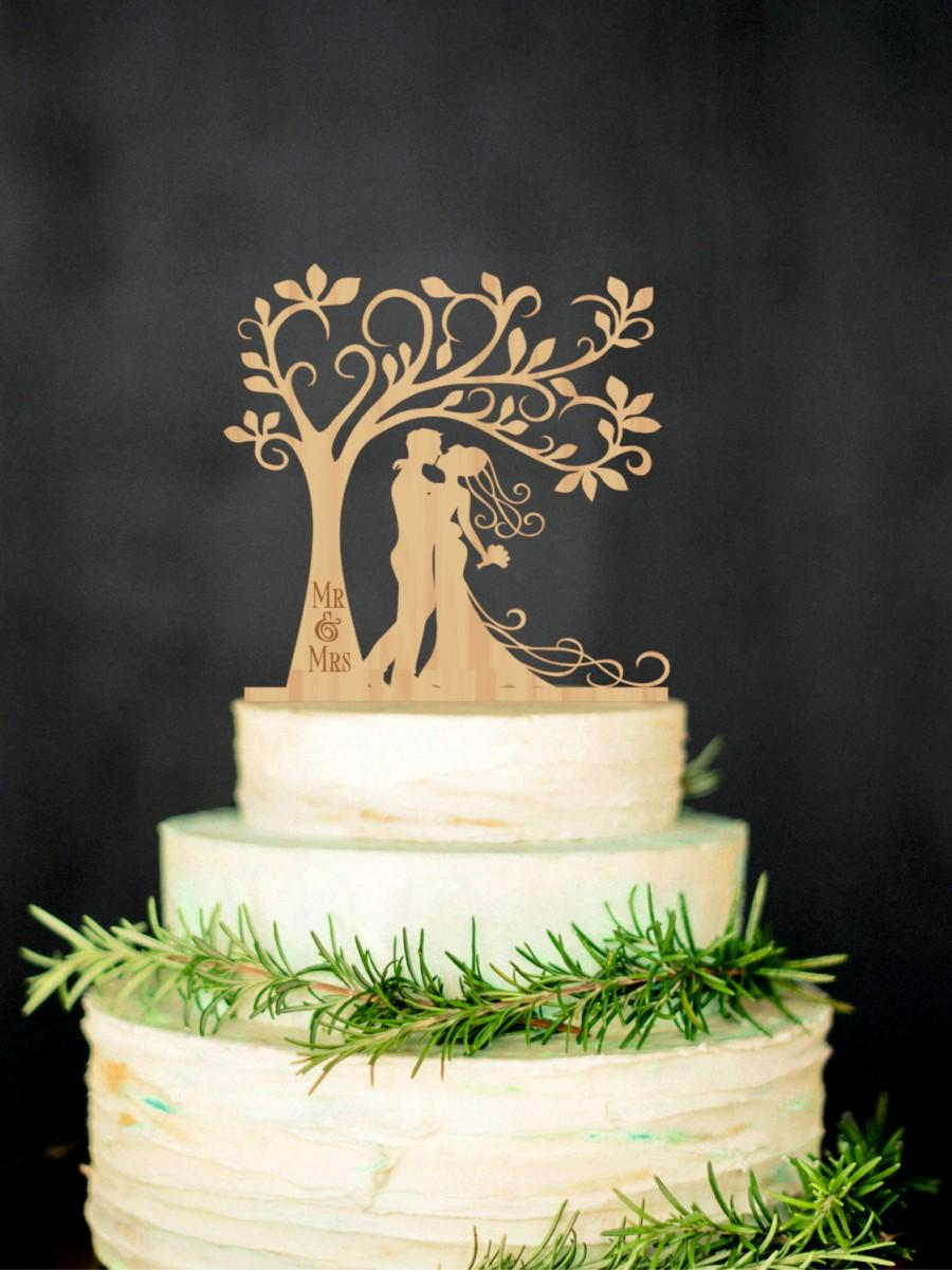 Bride Groom Wood Cake Topper Mr Mrs Tree Cake Topper Personalized