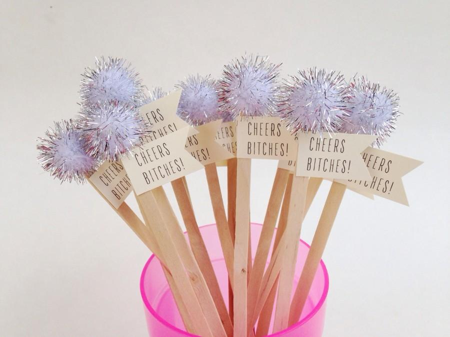 Hochzeit - Cheers Bitches Drink Stirrers - Bachelorette Party Decor - Bachelorette Decor - Cheers Bitches Banner - Last Fling Before the Ring